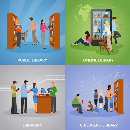 Library concept icons set with public and online library symbols flat isolated vector illustration Stock fotó - 81547019