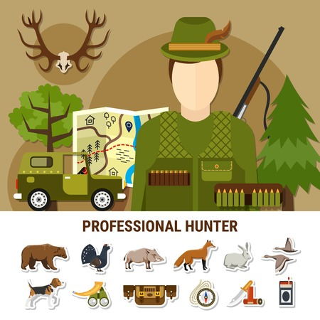 Professional hunter concept with map car animals and forest flat isolated vector illustration Illustration