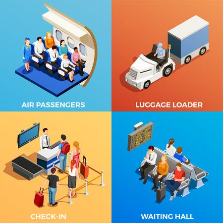 Isometrisch 2x2 ontwerpconcept met reeks scènes met mensen bij luchthaven en aan boord van 3d geïsoleerde vectorillustratie Stock Illustratie