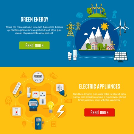 Horizontal flat banners with green energy and electric appliances on blue and yellow background isolated vector illustration