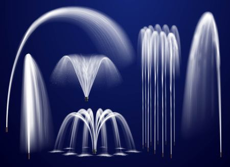 Set of realistic fountains including single jets and combination of streams on blue background isolated vector illustration Illustration