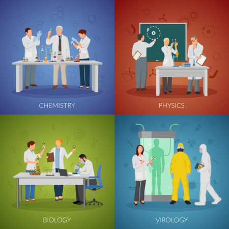 Scientist icons set with physics and virology symbols symbols flat isolated vector illustration Stock Vector - 81547030