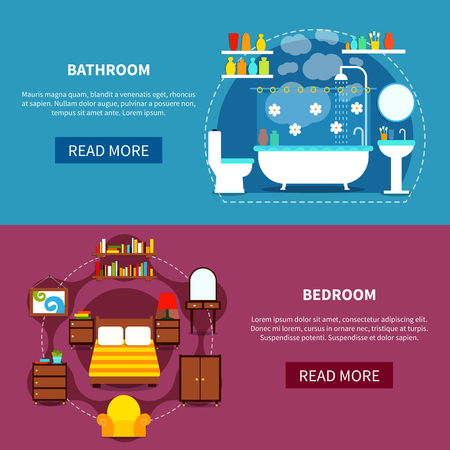Interior horizontal banners set with bedroom and bathroom flat isolated vector illustration
