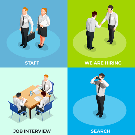 Recruitment isometric 2x2 design concept set with job candidates on colorful backgrounds 3d isolated vector illustration