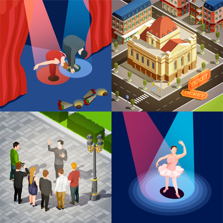 Theatre buildings and actors performing at stage and outdoors 2x2 isometric icons set 3d isolated vector illustration