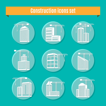 Construction round white blue icons set with building a house symbols flat isolated vector illustration