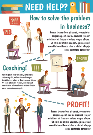 Business trainings and coaching flowchart with experts speaking about achievement of goals on white background vector illustration