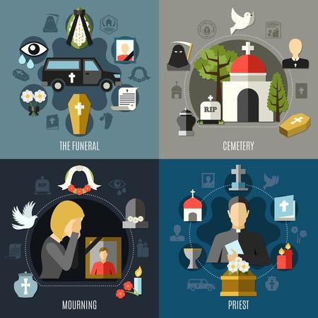 Begrafenis concept iconen instellen met rouw en priester symbolen vlakke geïsoleerde vector illustratie Stock Illustratie