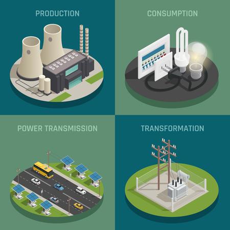 Production d'énergie électrique générant le poste de transformation de transmission et le concept de consommation 4 Icônes isométrique carré isolé d'illustration vectorielle