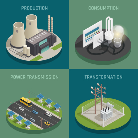 Electric power production generating transmission transformation substation and consumption concept 4 isometric icons square isolated vector illustration