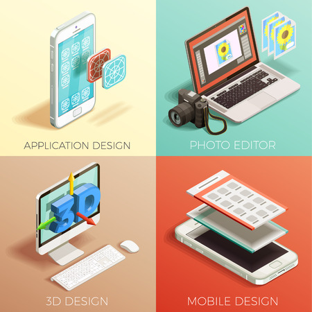 Isometric 2x2 concept set of various kinds of graphic design on colorful backgrounds 3d isolated vector illustration
