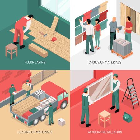 Different stages of apartment renovation 2x2 isometric design concept 3d isolated vector illustration