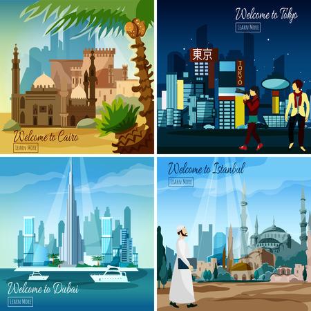 Reeks vlakke toeristenkaarten met oosterse stadsgezichten geïsoleerde vectorillustratie Stock Illustratie