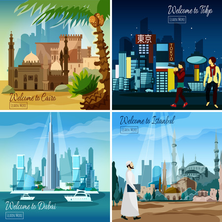 Set of flat tourist cards with eastern cityscapes isolated vector illustration