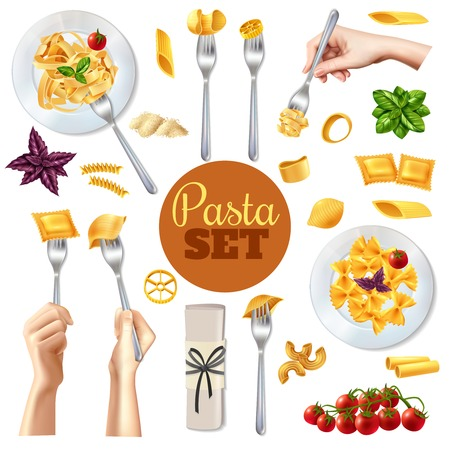 Different kinds of pasta and restaurant dishes realistic set isolated on white background vector illustration