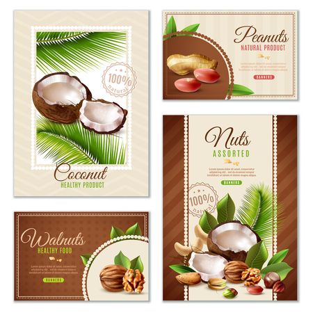 Realistic set of four poster banners of different shape with assorted nuts isolated on white background vector illustration
