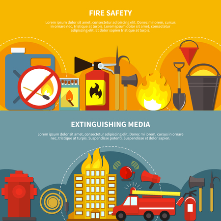 Flat design extinguishing media and fire safety tools horizontal banners set on colorful backgrounds isolated vector illustration Illustration