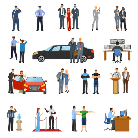 Bodyguard icons set with celebrities symbols flat isolated vector illustration