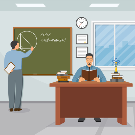 Science and education composition with teacher blackboard and student flat vector illustration Illustration
