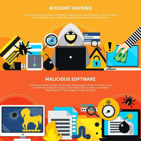 Hacking two horizontal banners with malicious software and account hacking design compositions flat vector illustration