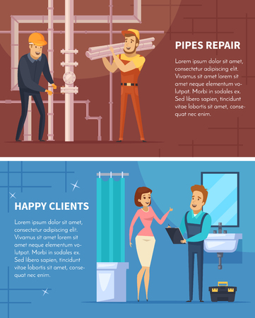 Plumber two horizontal banners with pipes repair and happy client flat compositions cartoon vector illustration