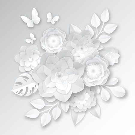 Elegant white paper cut flowers 3d bridal arrangement with  monstera leaf and butterfly handcraft realistic vector illustration