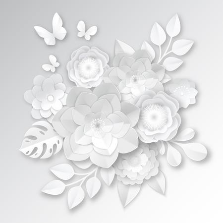Légant papier blanc coupé des fleurs 3d arrangement nuptiale avec monstera feuille et papillon artisanat illustration vectorielle réaliste Banque d'images - 81547060