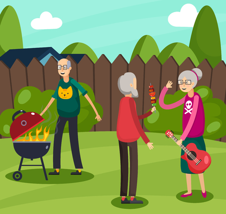 Colored aged elderly people orthogonal composition with old people who are doing their favorite thing vector illustration