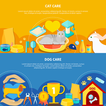 Cat and dog pet care accessories horizontal banners set on colorful backgrounds flat isolated vector illustration
