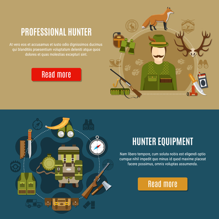Hunting equipment horizontal banners set with compass and rifle symbols flat isolated vector illustration