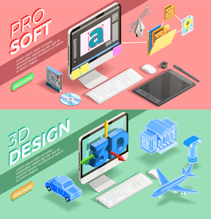 Graphic 3d design and various tools for work of designer horizontal isometric banners set isolated vector illustration