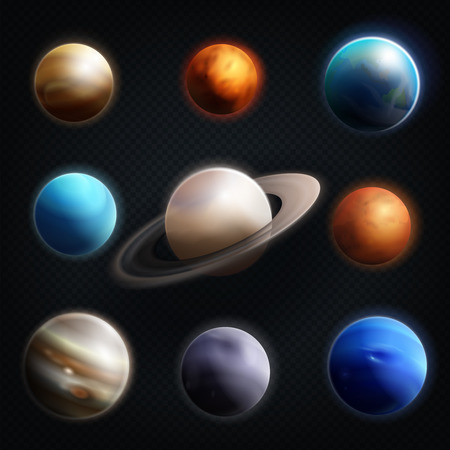 Planet realistic icon set with earth mars Jupiter Saturn Venus and others planets of the solar system vector illustration 向量圖像