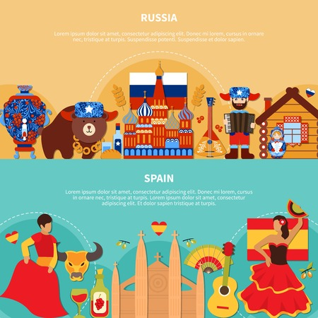 Travel horizontal banners with flat doodle style images of russian and spanish national stereotype symbols and characters vector illustration