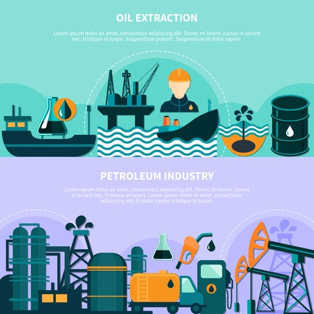 Oil industry horizontal banners set with doodle images of offshore production platform pumping units with text vector illustration Illustration
