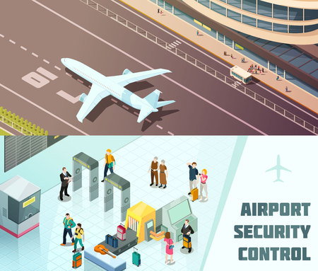 Airport horizontal isometric banners with tourists at security control and plane landing isolated vector illustration Illustration
