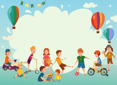 Gekleurde cartoon spelen kinderen achtergrond of frame met lucht ballonnen en groep kinderen vector illustratie