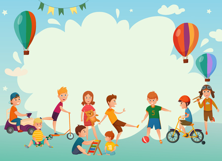 Colored cartoon playing kids background or frame with air balloons and group of children vector illustration