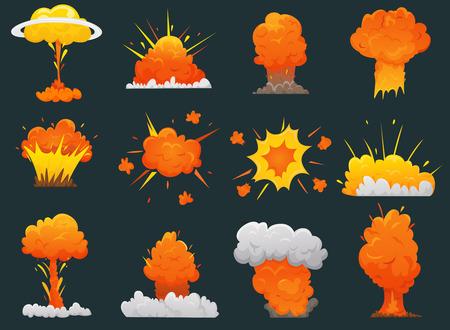 Icono de explosión de dibujos animados retro conjunto con diferentes tipos y tamaños de explosiones ilustración vectorial Ilustración de vector
