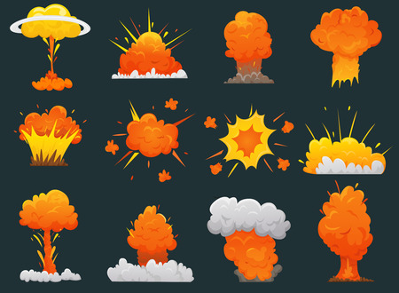Retro cartoon explosion icon set with different types and sizes of explosions vector illustration