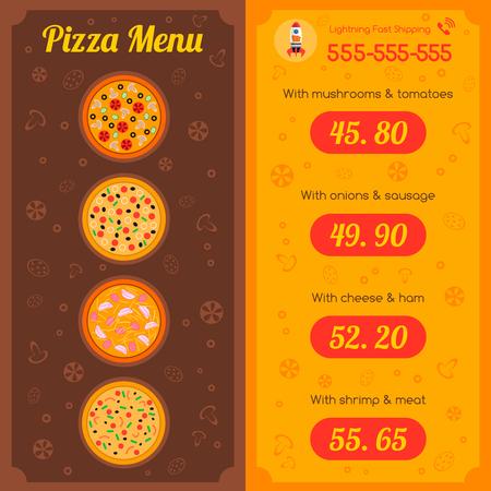 Disposition de modèle de menu de restaurant Pizza avec illustration vectorielle de nourriture panier Banque d'images - 81547081
