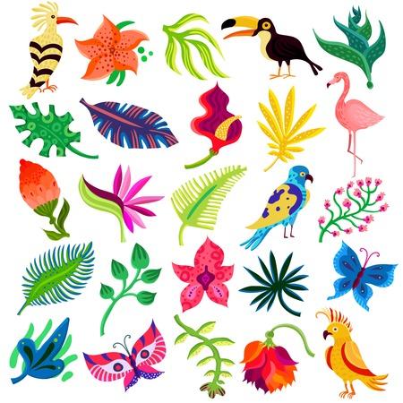25 フラット分離アイコン手描きスタイルの熱帯のエキゾチックなセット葉花や鳥のベクトル図