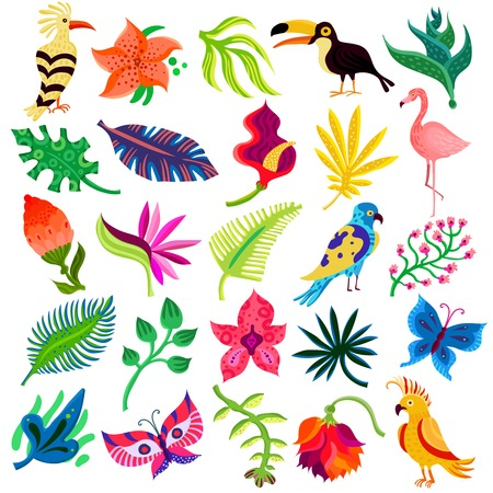 Tropical exotic set of twenty five flat isolated icons with hand drawn style leaves flowers and birds vector illustration Фото со стока - 81547082