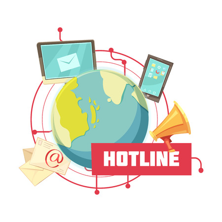 Hotline retro cartoon design with email computer mobile device megaphone around globe on white background vector illustration Illustration