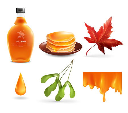Maple syrup set with product in bottle, droplet, flowing nectar, leaf and seeds, pancakes isolated vector illustration