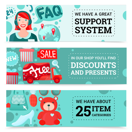 Online shopping horizontal banners collection with cartoon style images of goods gift boxes and support agent vector illustration Illustration
