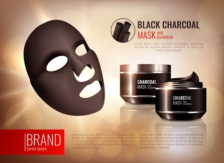 Charcoal cosmetic face mask poster with composition of branded pots on abstract background with editable text vector illustration Illustration