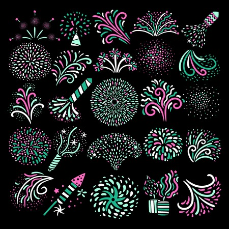 Modern festive colorful various types firework icons big set on black background poster abstract isolated vector illustration