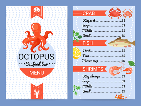 Octopus seafood restaurant bar menu card with crab fish shrimps dishes flat advertisement poster vector illustration