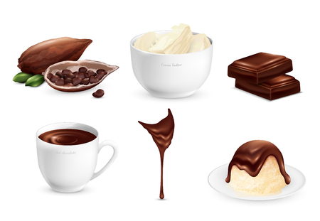 Cocoa products set with ripe beans, sweets, cup of hot chocolate, stream of glaze isolated vector illustration Иллюстрация
