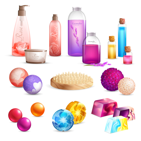 Bath handmade cosmetics composition with set of colorful product packaging pieces of soap and shower pouf vector illustration